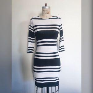 French Connection Black/White Stripe T-shirt Dress
